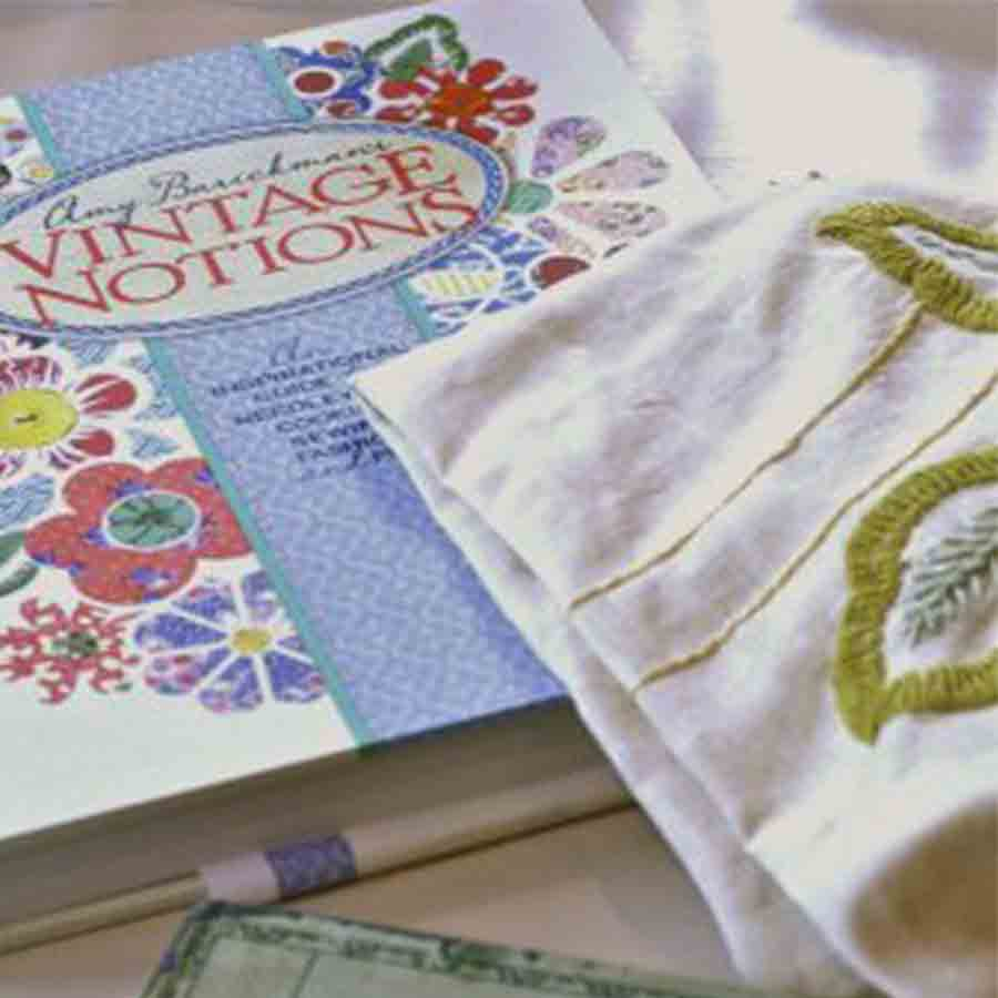 Vintage Notions book and embroidery sample