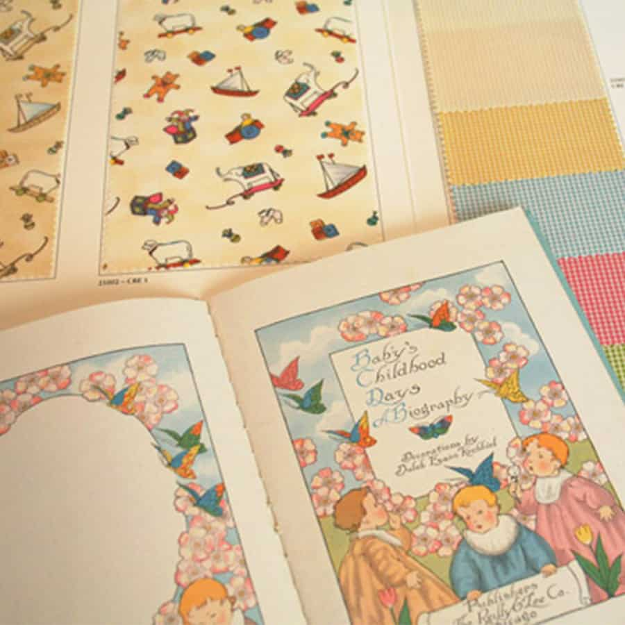 baby book and fabric