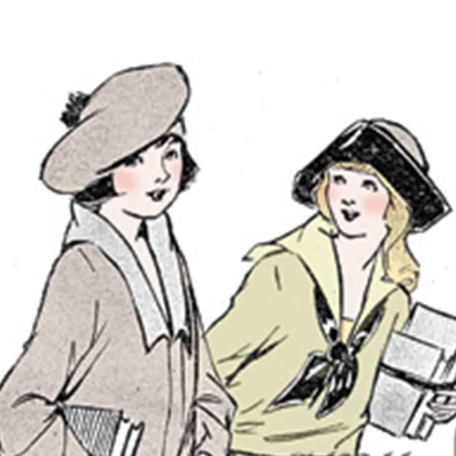 vintage illustration of school girls