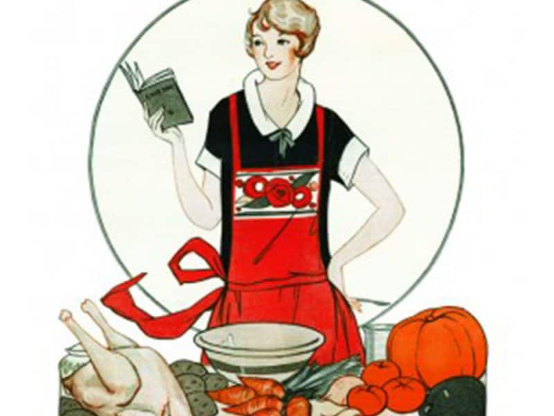 Vintage art of lady cooking