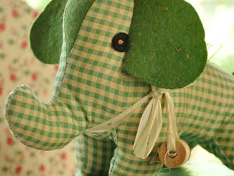 green gingham elephant toy