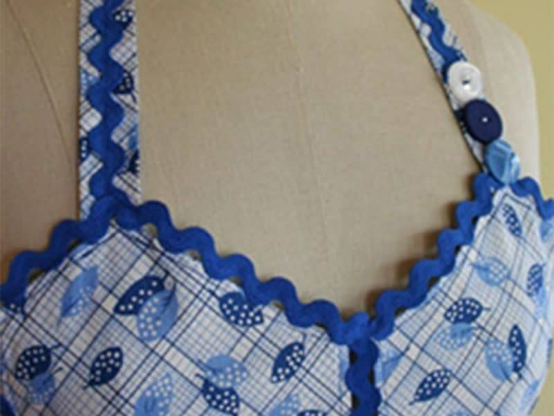 Blue apron with rick rack detail