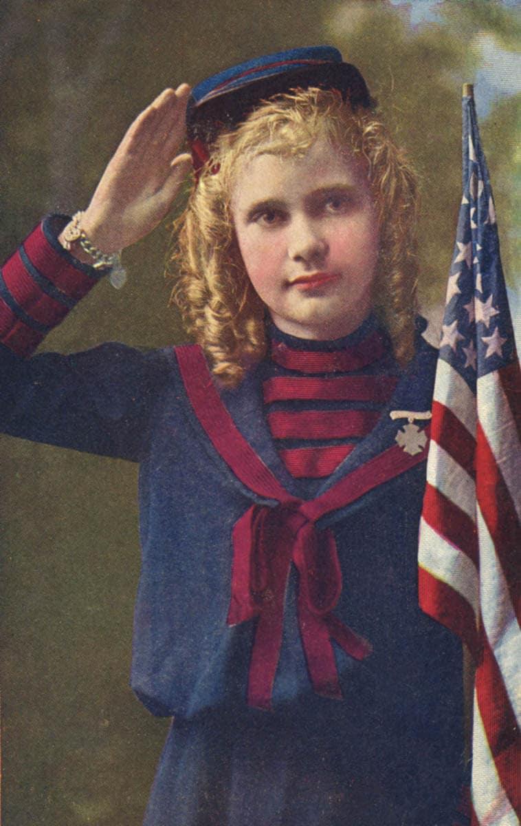 Girl Salute American Flag