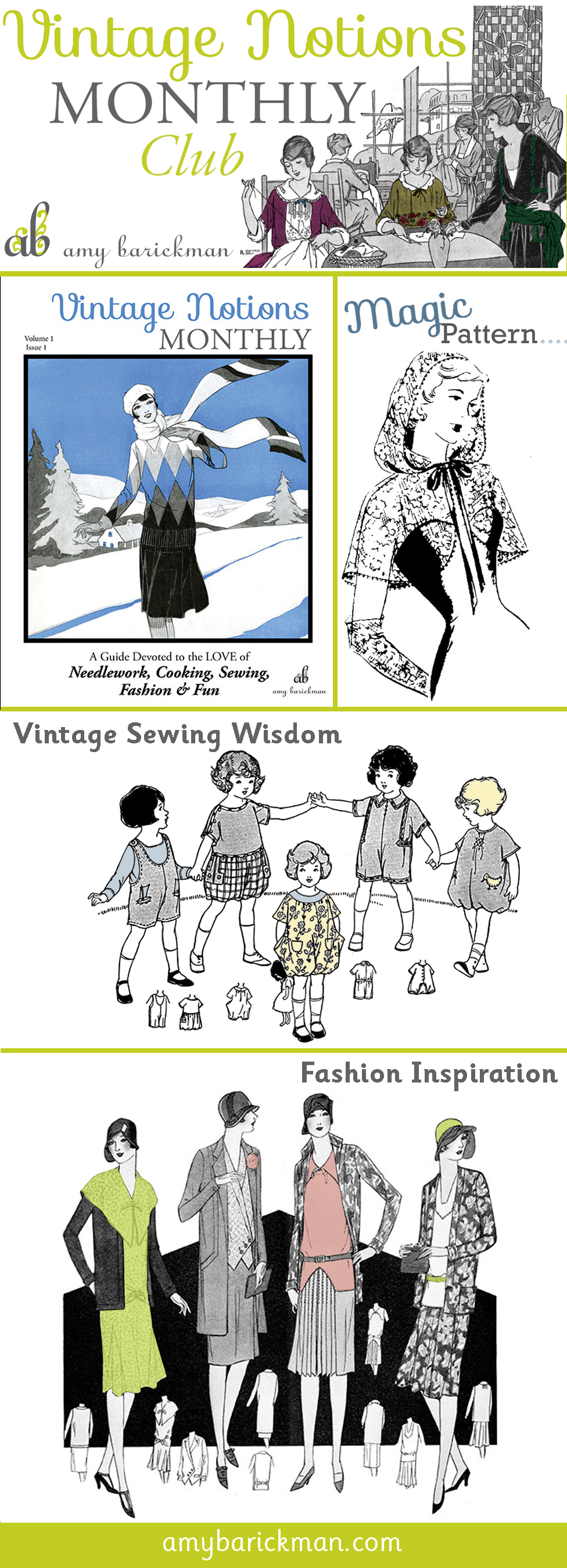 Vintage Notions Monthly is a magazine that celebrates the love of Needlework, Cooking, Sewing, Fashion and Fun!