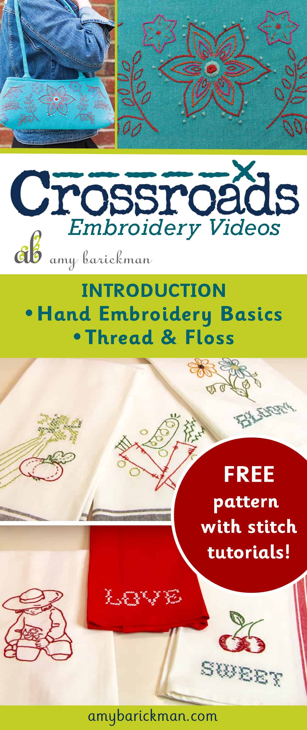 Learn to embroider with Amy Barickman! Everything you need to know to get started, and free patterns too!