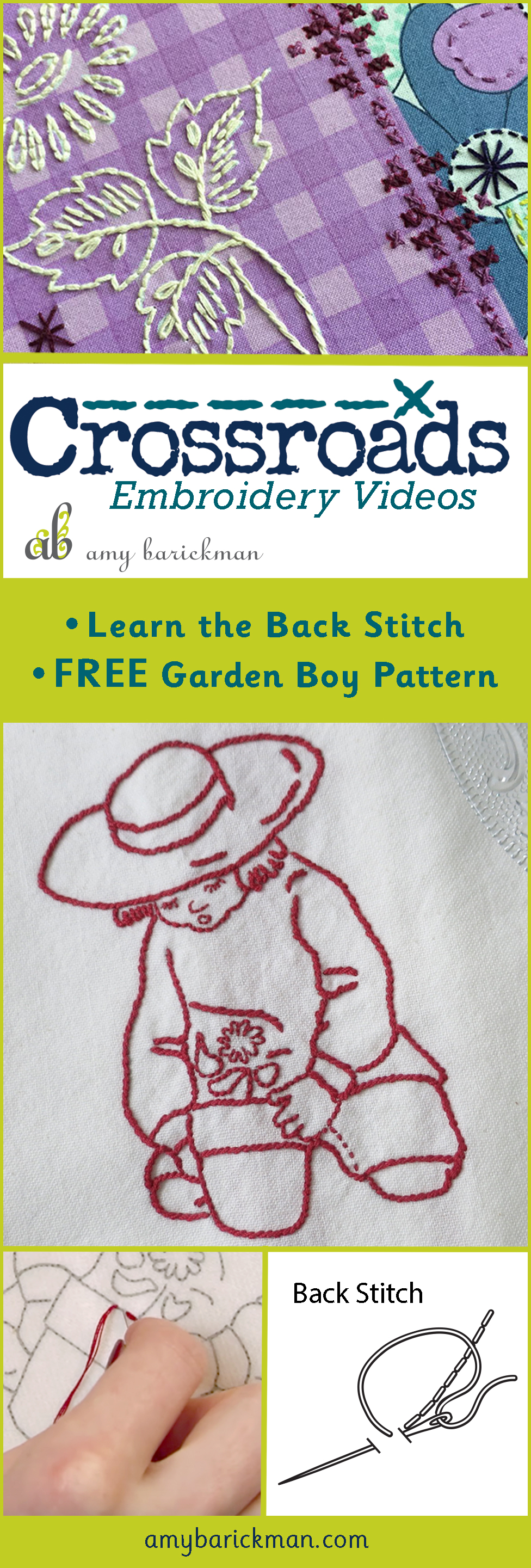 Author Amy Barickman gives a video tutorial on how to do the backstitch, and includes a cute vintage inspired pattern for you to practice with!