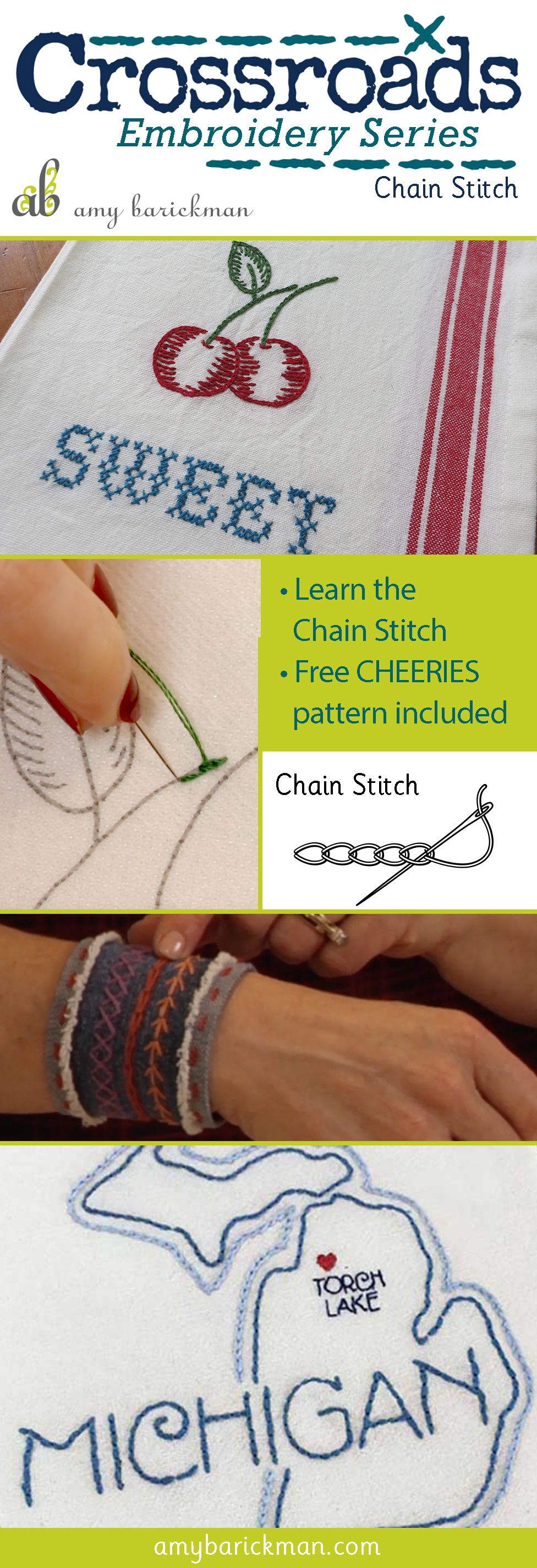 Author Amy Barickman's free tutorial and download for the chainstitch!