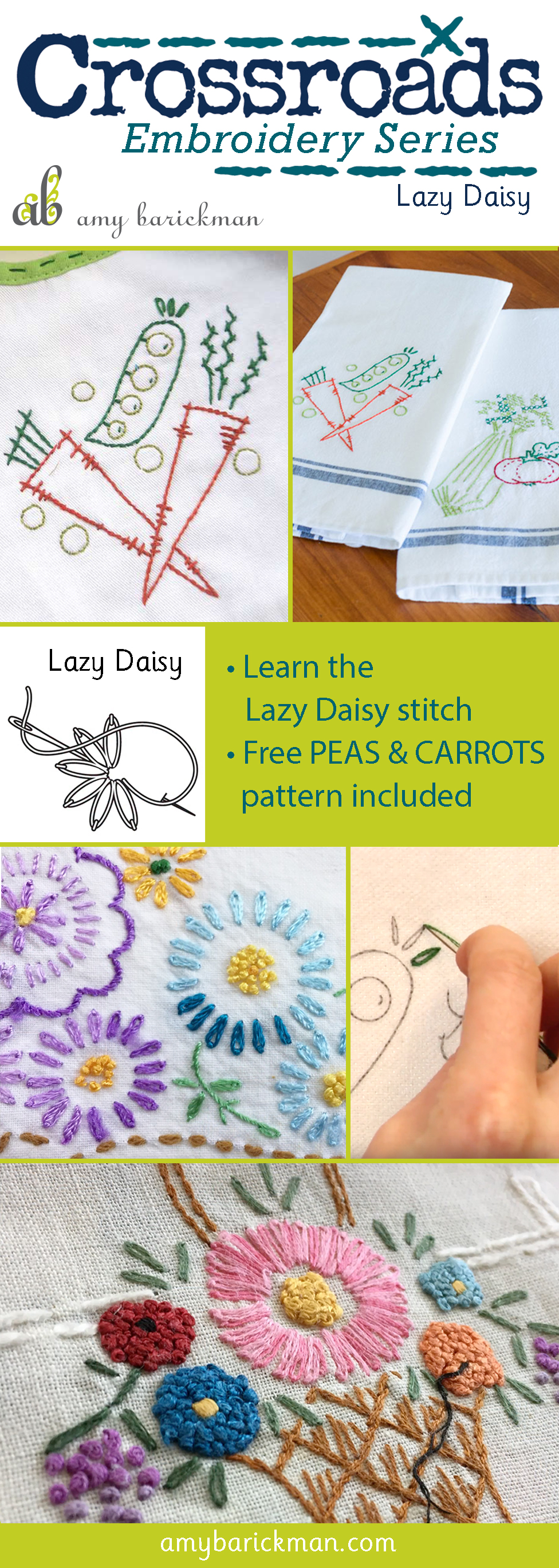 A video tutorial for the Lazy Daisy embroidery stitch, plus a free design to practice!