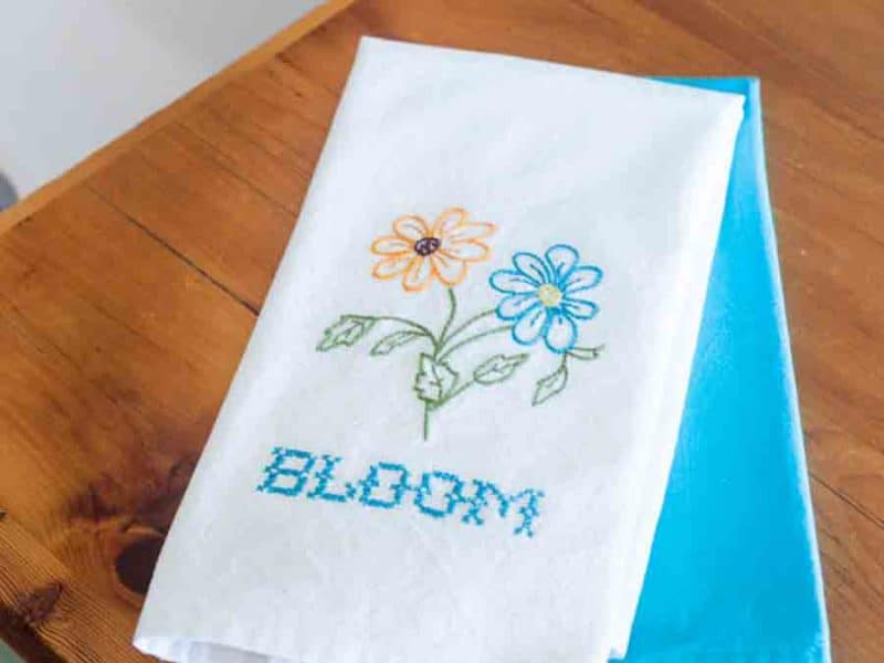 Bloom embroidery on dish towe