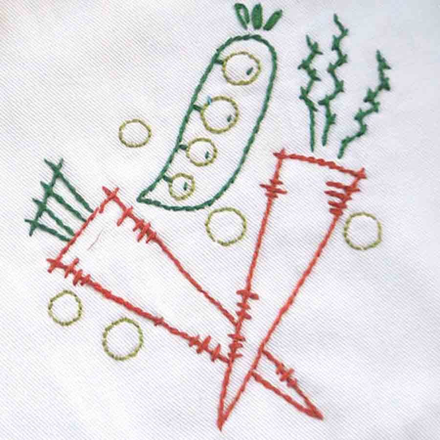 Peas and Carrots embroidery
