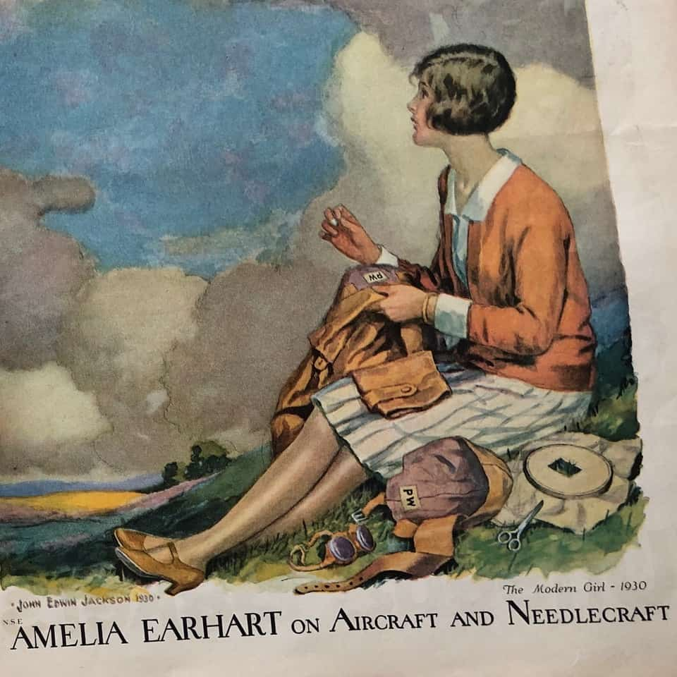 Magazine cover with Amelia Earhart
