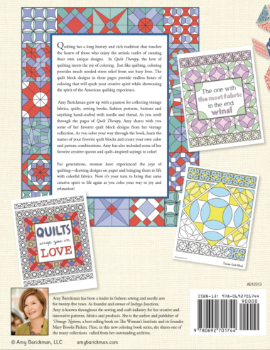 Quilt Therapy back cover