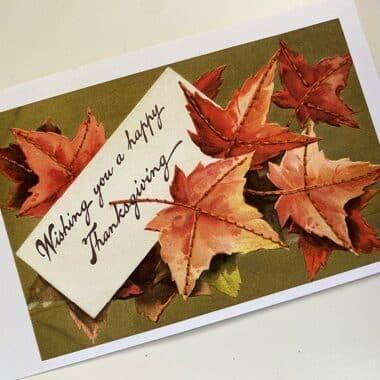 stitching on Thanksgiving postcard