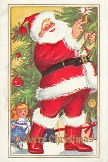 Vintage Postcard of Santa placing candle on tree