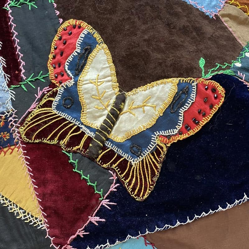 Beaded Butterfly on Crazy Quilt