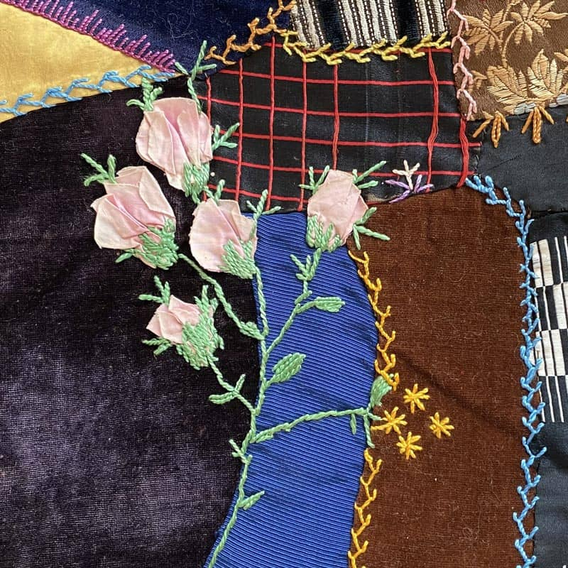 Ribbon Embroidery on Crazy Quilt