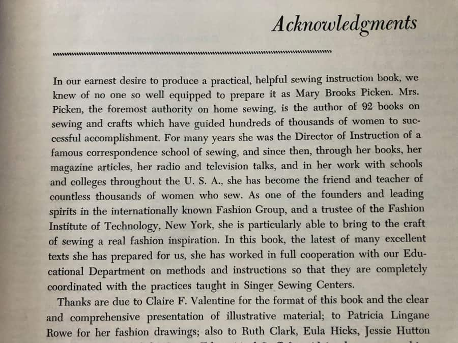 Acknowledgments Singer Sewing Book