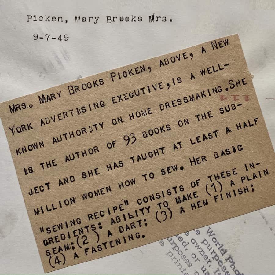 Mary Brooks Picken back of photo
