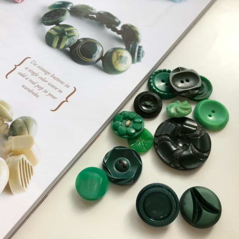 Buttonware with green buttons