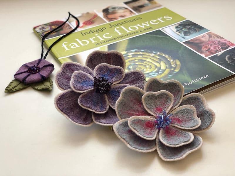 Purple fabric flowers