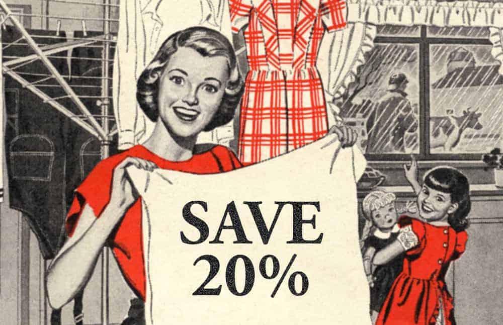 Save 20% retro image