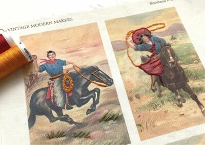 Embroider this printable art feature a cowboy and cowgirl