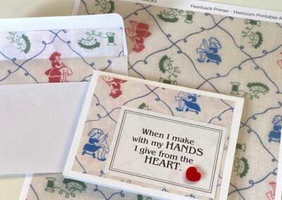Printable Heirloom Art feature notecards and feedsack prints