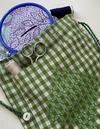 Gingham Drawstring Bag. This sewing project is featured in the Gingham Course.