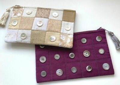The Pearl Button Patchwork Pourch featured in the Pearl Button Primer Course