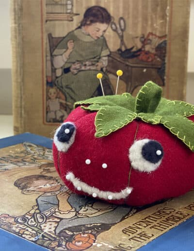 Tommy the Tomato Pincushion. This sewing project is featured in the Tomato Pincushion Course.